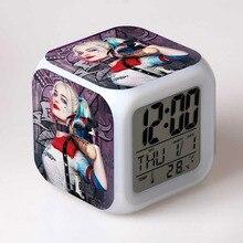 Отряд Самоубийц фигма Харли Куинн и Джокер светодиодный будильник цветной сенсорный светильник часы модель фильма фигурка забавные игрушки