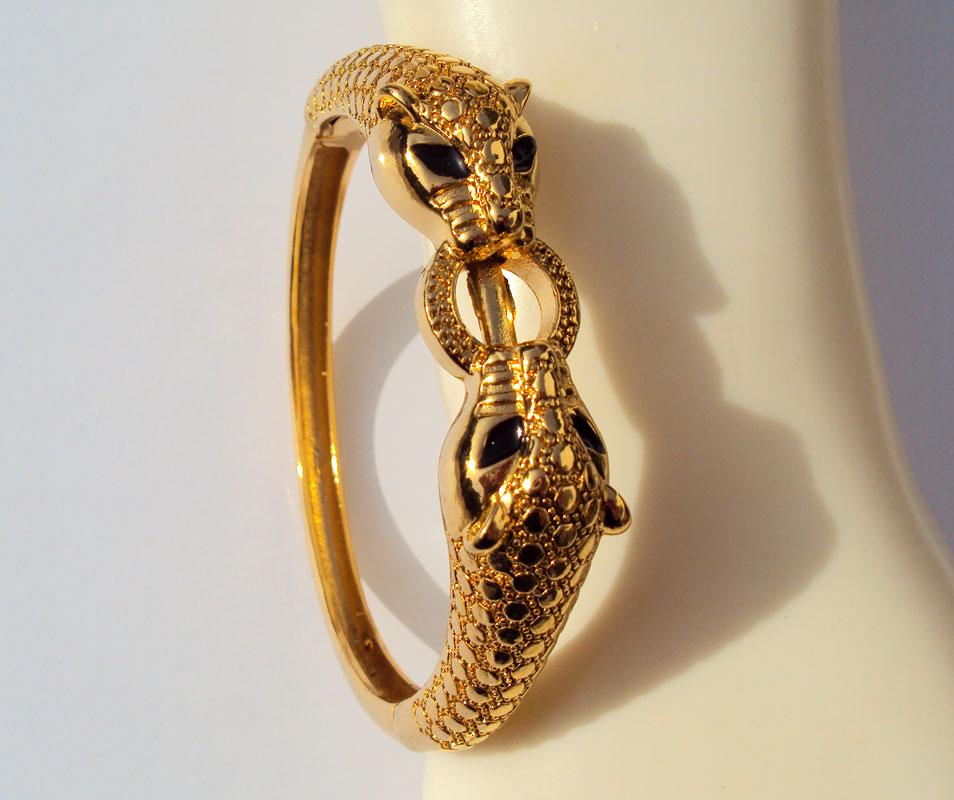 Браслет Leopard Black Eyes, 22 K, 23 K, 24 K, Thai Baht, желтое золото, GP, тяжелое, 43G BA18
