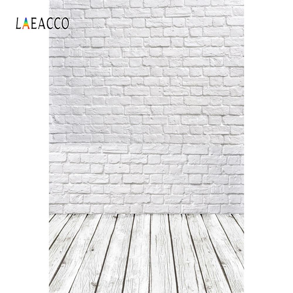 Laeacco, pared de ladrillo blanco, tablero de madera, tablón de estilo antiguo, fondos de fotografía personalizados, fondos fotográficos para estudio fotográfico