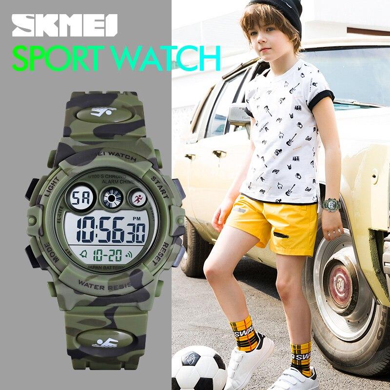 Azul del reloj SKMEI deporte niños relojes joven y enérgico diseño de esfera 50M resistente al agua LED de colores + EL luces reloj infantil 1547 de los niños