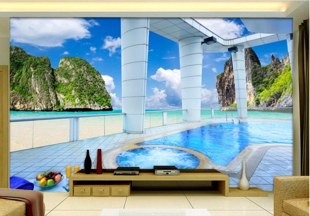 Foto de mural personalizado, papel tapiz 3d con vista al mar, árbol de coco, exterior del balcón de las galaxias, murales de pared 3d, papel tapiz para paredes 3 d