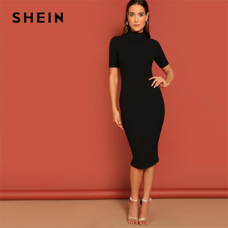 SHEIN Black Mock Neck Rib-knit Pencil Stretchy Knee Length Bodycon Dress Solid Dress Women 2019 Spring Short Sleeve Casual Dress
