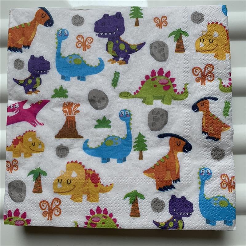 20 винтажных салфеток, бумага, милый держатель салфеток, мультфильм, животное, динозавр, деформируемая свадьба, детская вечеринка для мальчи...