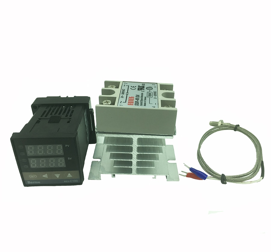REX-C100 digital termostato controlador de temperatura ssr saída k tipo termopar sensor 48x48 + ssr 40da relé sólido sensor