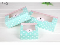 Paper Gift Box With Window Wedding Party Kraft Paper Box white dots Cake Food Packaging box blue Candy Cookies Cupcake box