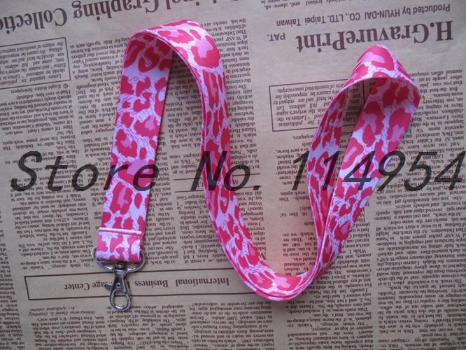 Freies verschiffen 10 Stücke/Großhandel lose Rosa + Weiß Leopard halskette Band Lanyards Handy PDA Key ID Armband Charms L131