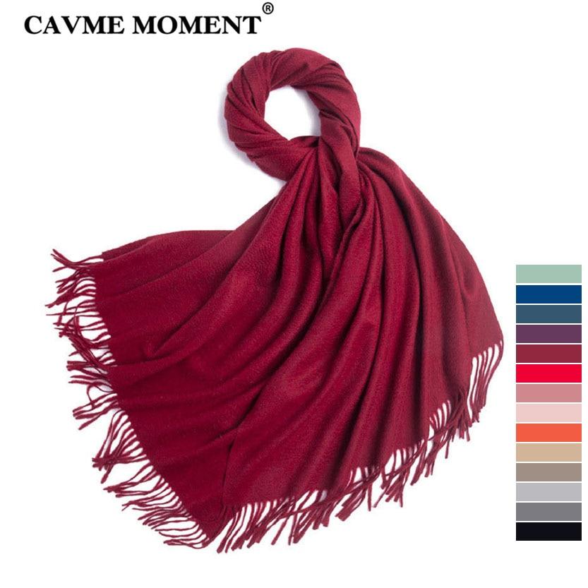 CAVME-وشاح كشمير عالي الجودة 100% للنساء والرجال ، وشاح طويل ومتين مع شرابة شال لف 70*200 سنتيمتر 320 جرام