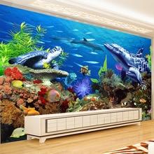 Papier peint Mural personnalisé   Papier peint 3D gaufré, Non-tissé réaliste, requin dauphin poisson sous-marine, Photo murale océan arrière-plan de canapé TV