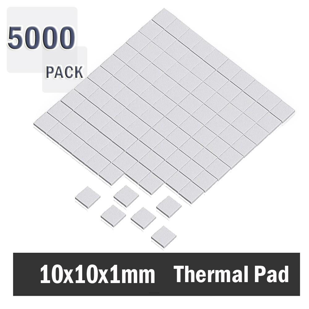 5000Pcs 10x10x1mm  Silicone Thermal Pad Heatsink Conductive Insulation Paste For IC Cooling