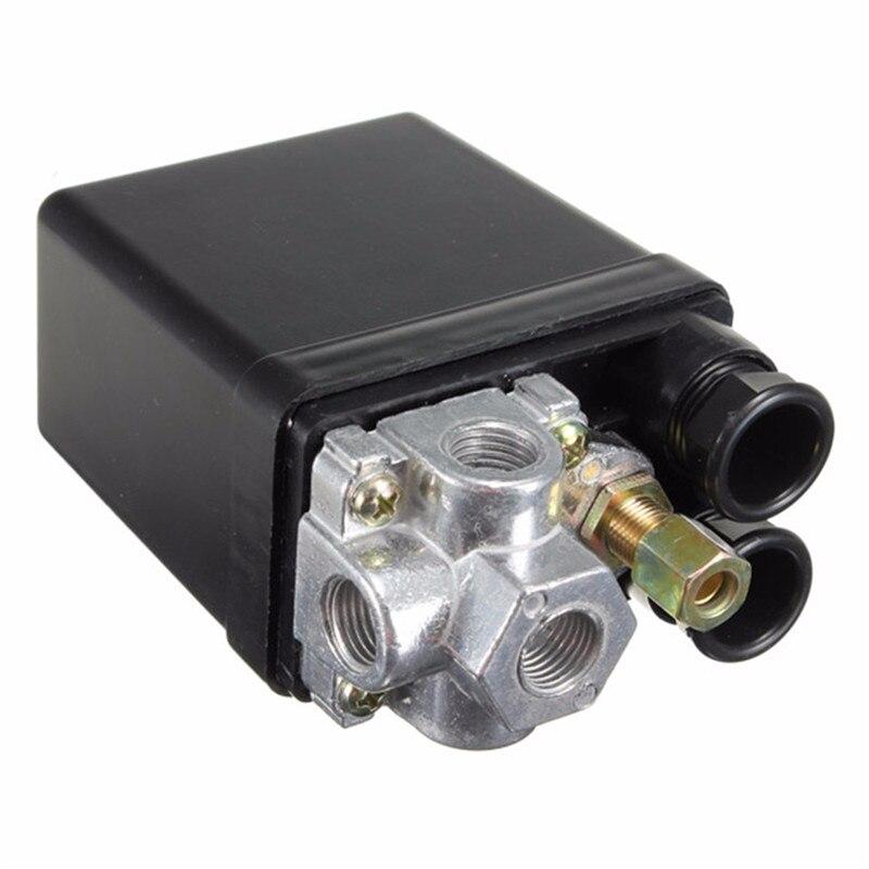 Клапан переключателя давления для тяжелого воздуха, 90-120PSI, 12 бар, 20 А, переменный ток, 220 В, 4 порта, 12,5x8x5 см, Новое поступление