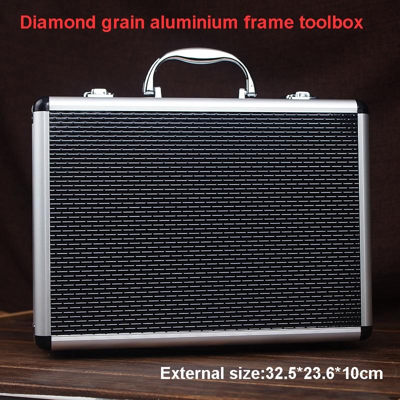 high quality aluminium tool case toolbox file storage carry tool box Hand Gun Key Lock case with foam lining 325*236*100 MM