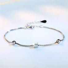 summer charm beads square box chain  bracelet  ladies argent gifts for women girls best friend hand braslet KSL2028