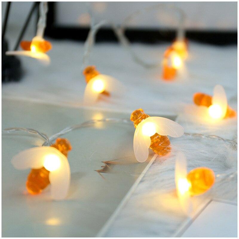 Pequena abelha corda de luz solar com sistema de luz de indução casa decoração luzes festival festa suppliesten lâmpadas/corda