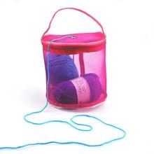DIY Crochet Yarn Bag Mesh Woolen Yarn Storage Case Baskets Knitting Yarn Round Plastic Bag Keep Yarns Away From Children Cat Dog