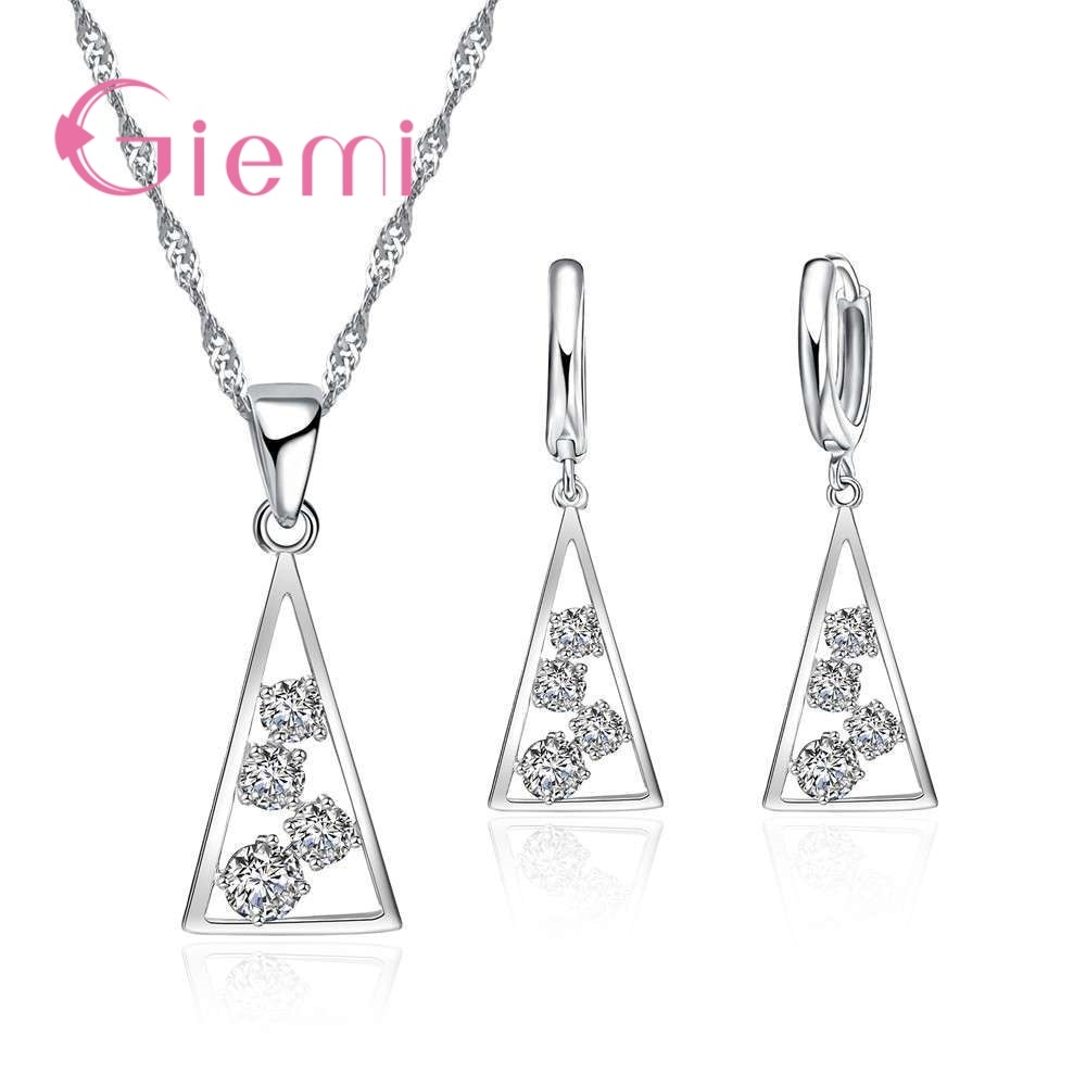 AliExpress - 100% 925 Sterling Silver Necklace Pendants for Women Wedding Party Geometry Cubic Zirconia Hoop Earring Sets Lover Girl
