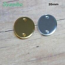 Disque accessoires bijoux miroirs or et argent   Perles circulaires en acrylique 16/20mm/25/30/38mm, 2 trous découpés au Laser-AC1001