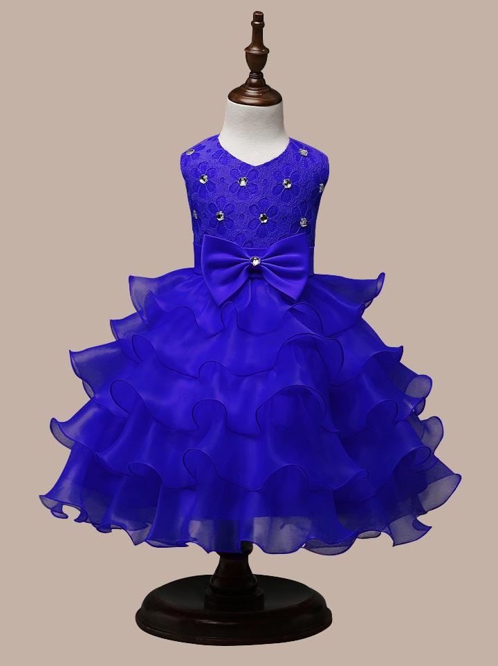 0-7 Years Mutlti Layer White Pink Flower Girl Dress 16