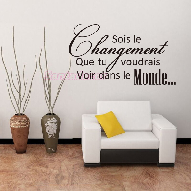 Cita francesa ser el cambio vinilo pared calcomanías extraíbles pared PEGATINAS ARTE papel tapiz para sala de estar Oficina Mural Decoración