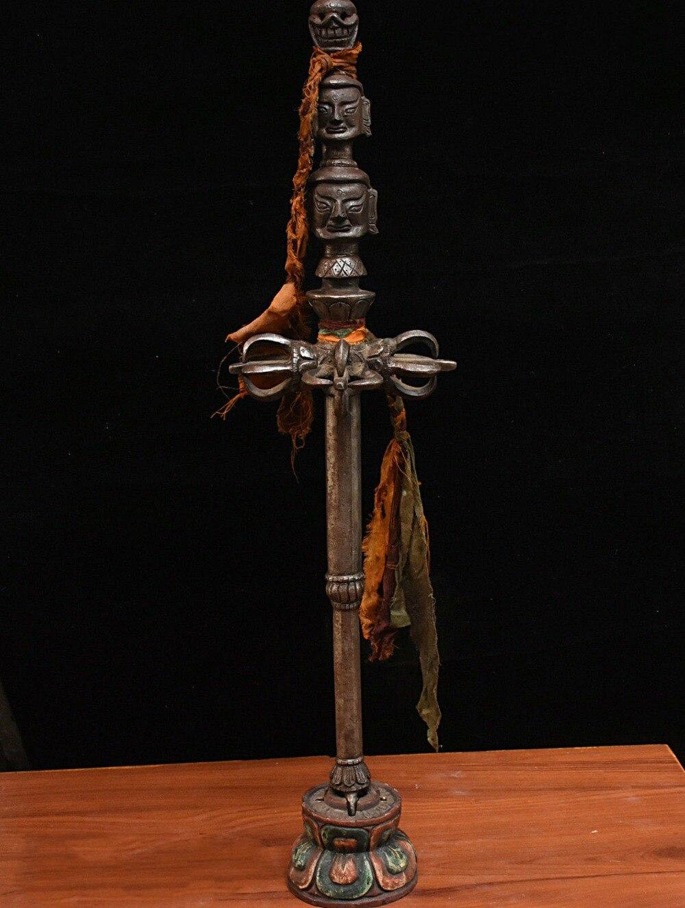 عيد الميلاد القديمة التبت التبت الحديد نيزك بوذا الجمجمة بوذا رئيس فوربا خنجر حامل هالوين