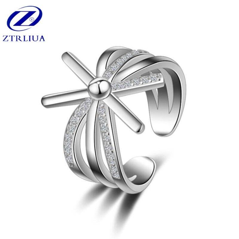 Requintado bonito estilo coreano moda 925 prata esterlina jóias sol feminino flor descendentes cristal abertura anéis sr326