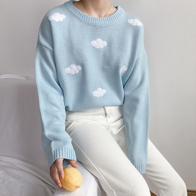 Jersey de nubes holgado de estilo Vintage de estilo Kawaii Ulzzang de 2020 para mujer, ropa Harajuku holgada gruesa de estilo coreano y Punk para mujer
