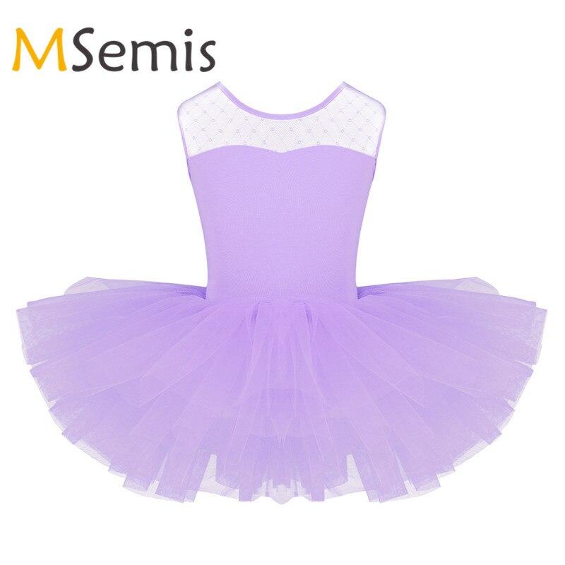 Miúdo Meninas Vestido de Ballet Collant de Ginástica para Meninas Tutu Vestido de Ballet Bailarina Estiramento Malha Splice U-em forma de Balé de Volta collant
