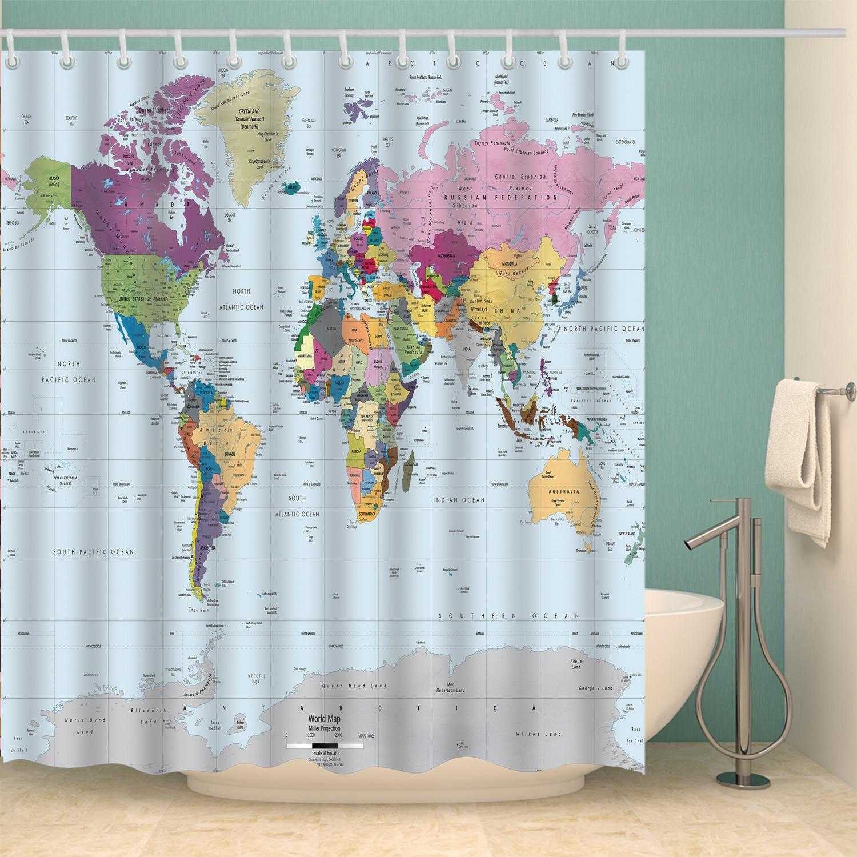 Waterproof World Map Shower Curtain For Bathroom Bath Curtains Extra long 180*200 cm 3D Blackout Shower curtain
