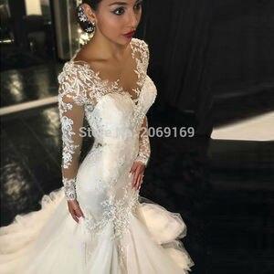 Cheap Vintage 2020 Long Sleeves Mermaid Wedding Dresses Vestido De Noiva  Lace Wedding Dress Bride Dress Robe De Mariage