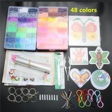 5mm Hama perles ensemble jouet bricolage Perler perles panneau perforé Tangram Puzzle avec outils Hama perles Puzzle enfants jouets