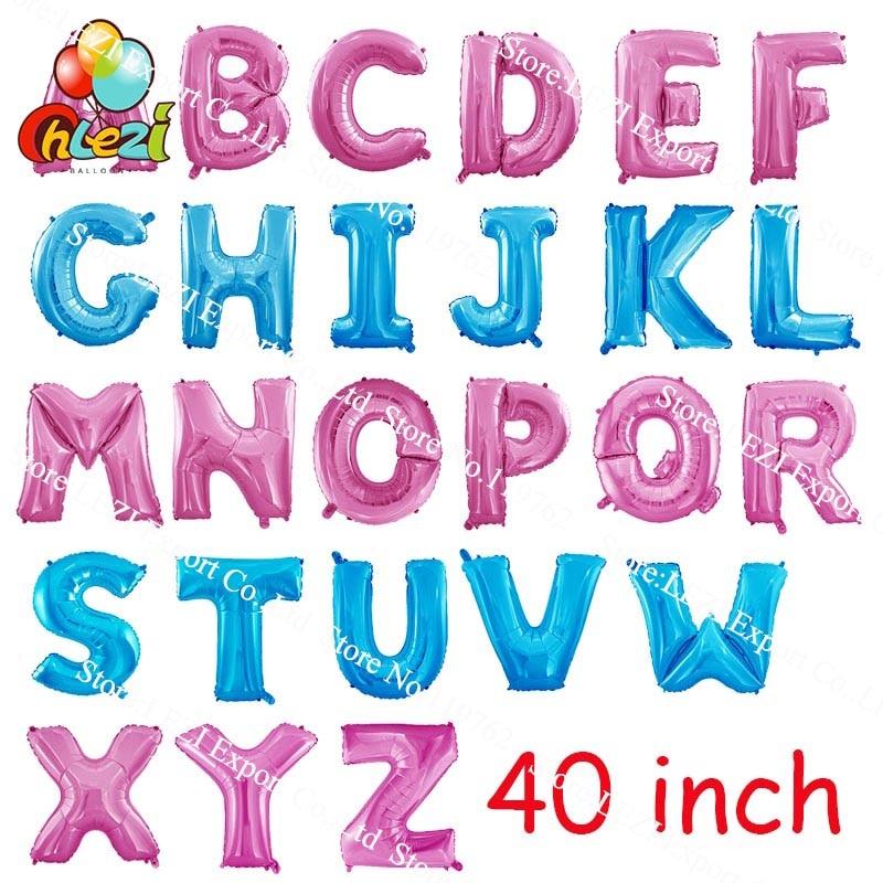 Nuevo globo de papel de aluminio de 40 pulgadas rosa azul, globos grandes de helio, suministros de decoración para fiesta de cumpleaños, paquete de tarjetas de papel