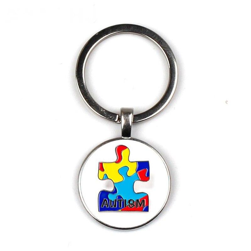 Rompecabezas de Concientización del autismo llavero Hope pieza de rompecabezas colorido cabujón colgante de vidrio impreso llavero bolsa encanto regalo