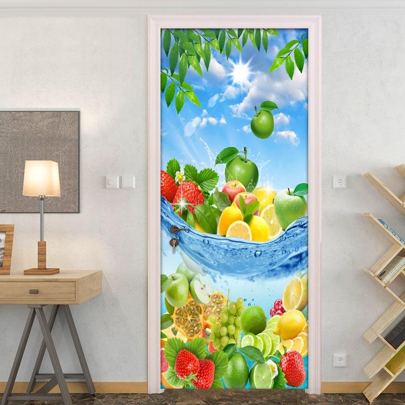 Frutas frescas Moderna 3D Sala de estar Cozinha Quarto Porta Etiqueta Mural PVC Auto-adesivo Foto Porta Mural Papel de Parede Para Casa decoração