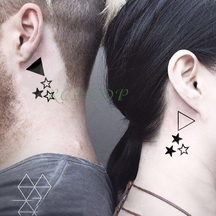 Tatuaje temporal a prueba de agua pegatina triángulo estrellas tatuaje falso Flash tatuaje muñeca pie mano para chica mujeres hombres