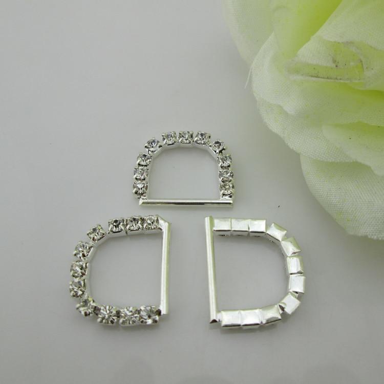 (BU14) 100 Uds hebilla de diamantes de imitación de plata letra D para Tarjeta De Invitación De Boda