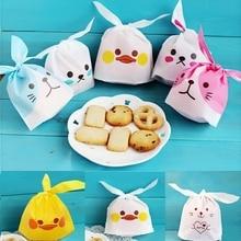 Sıcak 10 Pcs Sevimli Tavşan Kulak Çerez Çanta hediye keseleri Şeker Bisküvi Ördek Panda Çerez Pişirme Paketi Düğün Parti Iyilik Dekor