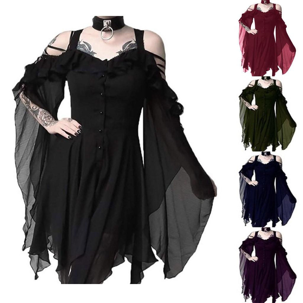 YOUYEDIAN, moda de mujer, Dark In Love, Mangas de volantes sin hombros, vestido Midi gótico para mujer, Vestidos de fiesta sin hombro #5