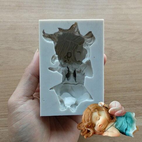 Novo chegando * linda menina elfo de fadas do bebê molde de silicone bolo molde