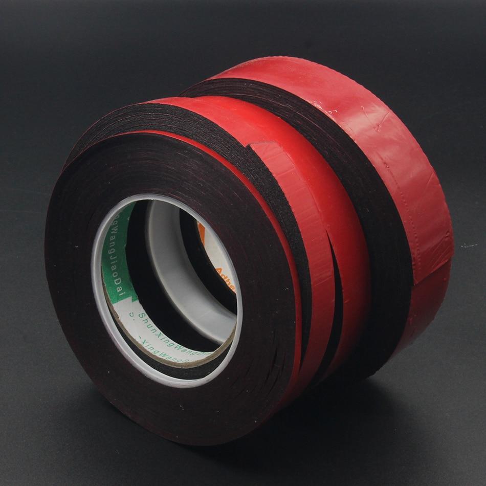 1 rollo (1mm 1,5mm 2,0mm de grosor) cinta adhesiva de espuma negra de doble cara para pantalla de ordenador, señal LED