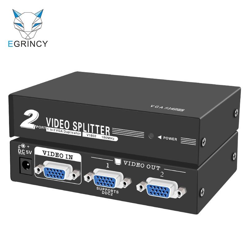 EGRINCY 1 в 2 Выход VGA переключатель сплиттер 15Pin 1080P 180MHz металлический корпус VGA видео адаптер для проектора ПК ноутбук HDTV монитор