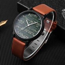 2020 Nieuwe Populaire Horloge Lederen Quartz Man Horloges Speciale Unieke Designer Mathe Maticale Formule Prints Fashion Heren Horloge