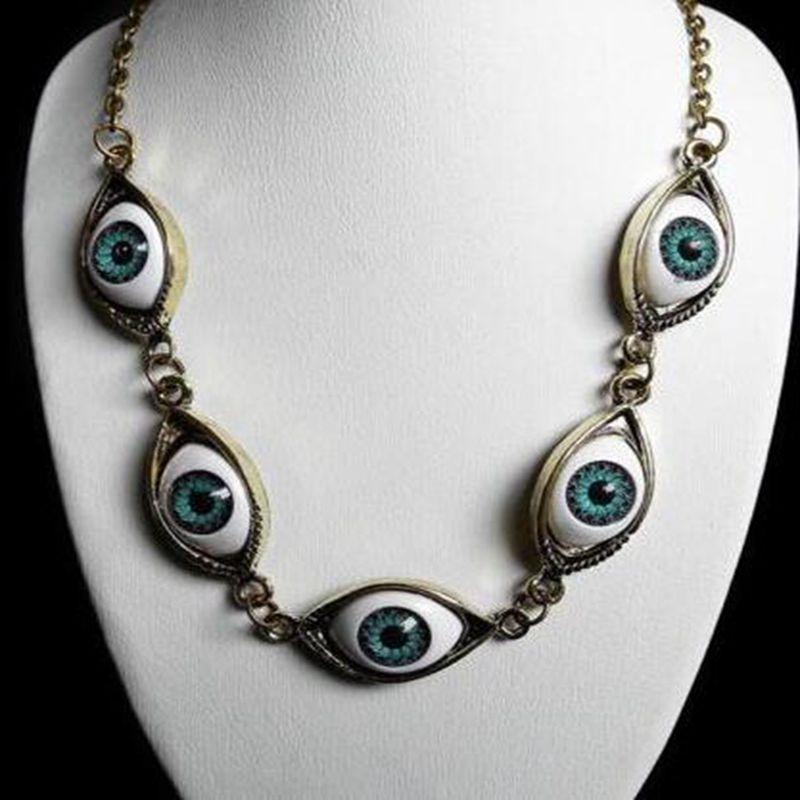 Vintage prata bronze 5 anjo diabo olhos colar pingente gargantilha gargantilha bff declaração colar para mulher bruxa gothic jóias presente