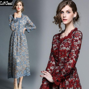 Cultiseed Women Dress 2020 Female Sexy Lace Office Work Party Long Dress Women Spring Autumn Vintage Long Sleeve Slim Dresses