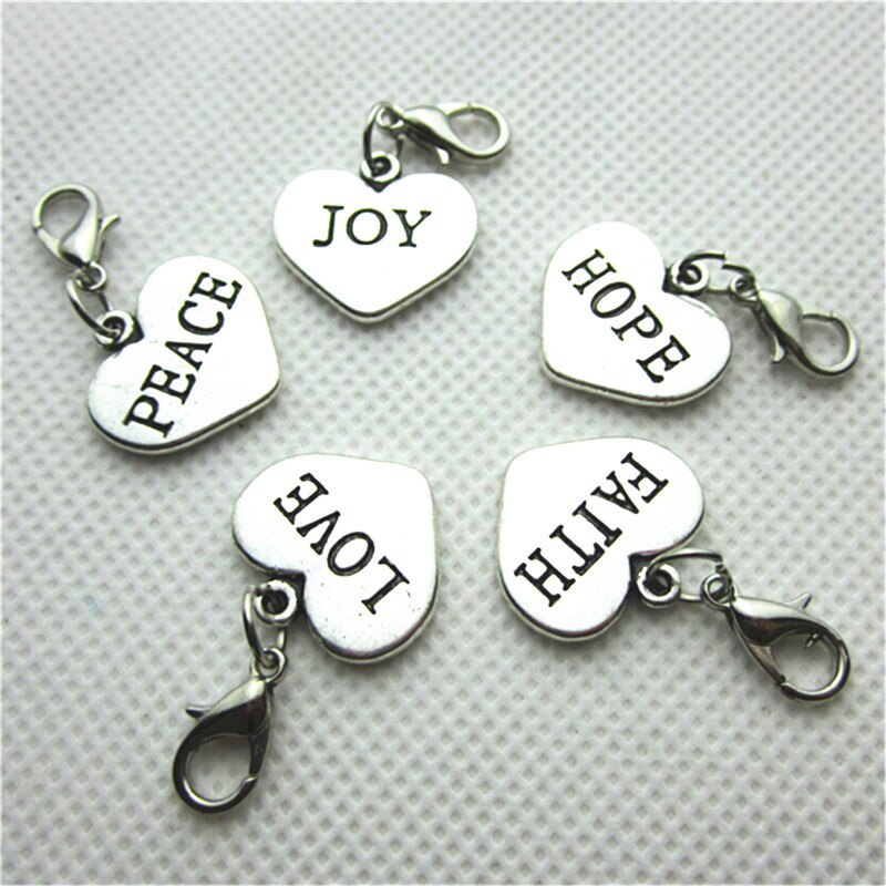50pcs/lot MIX Love Hope Faith Joy Peace Heart Charms Dangle Lobster Clasp Charms Diy Bracelets Jewelry Accessory Floating Charms