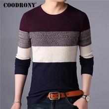 COODRONY chandail hommes Streetwear mode rayé tricots automne hiver coton laine Pull hommes coupe ajustée col rond Pull Homme 91028