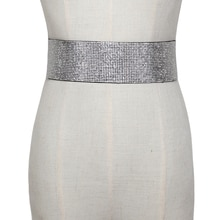 Ceinture avec des strass cristal pour femmes   Large ceinture ceinture, ceinture métallique bouton élastique, robe, ceinture de mariée, taille élégante féminine, 2020