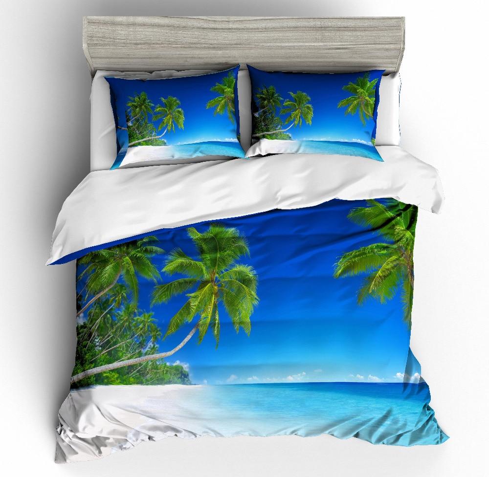 Juego de edredón MUSOLEI en 3D para playa, cocoteros verdes, playas de arena blanca, cama de agua de mar azul, cama doble king