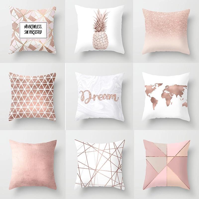 Lychee, fundas de almohada rosas geométricas, poliéster colorido 45x45cm, funda decorativa para cojín para dormitorio, sofá, funda de almohada