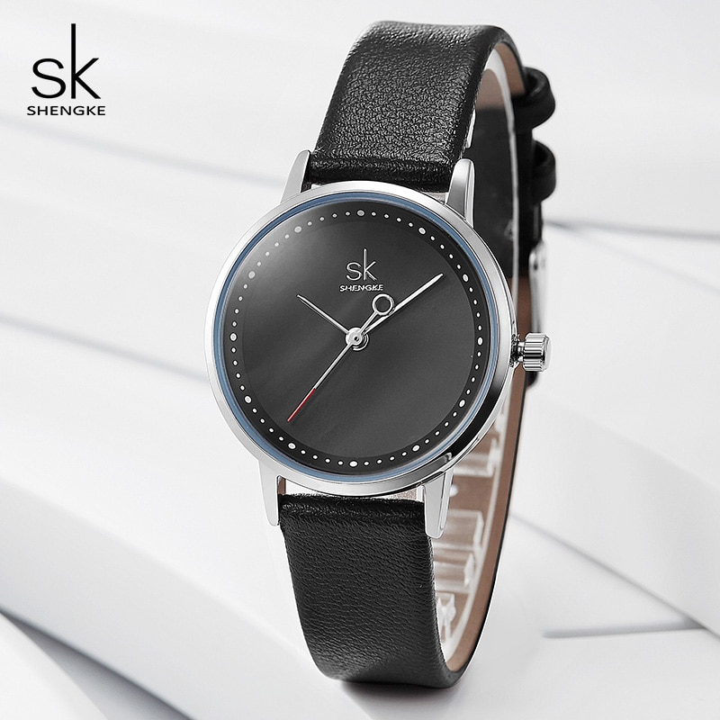 Shengke Ladies Watches Black Fashion Leather Wrist Watch Female Clock Reloj Mujer 2019 SK Luxury Brand Women Quartz Watch #K8045