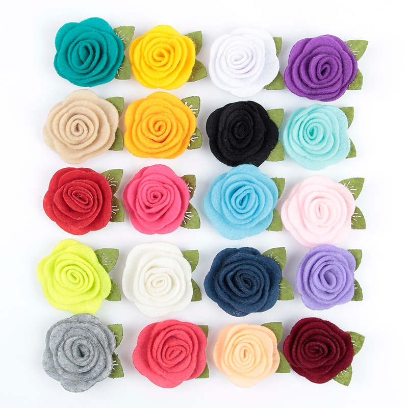 20pcs/lot 20colors Fashion handmade felt rose flower Diy for baby girls hair accessories headband ornaments 100pcs lot 3 20colors diy polyester fluffy ballerina chiffon flower with pearl button in centre handmade accessories
