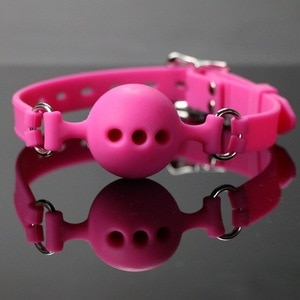 Adult Sex Bondage Moulded Lockable Silicone Ball Gag Breathable Ballgag Mouth Restraint Sex Products